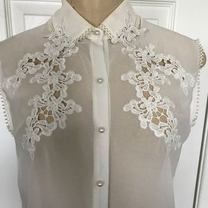 Forever 21 Ivory Chiffon Button Up Top with Lace